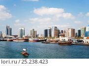 Купить «View across Dubai Creek (Khor Dubai), Dhow Wharfage and commercial centre, Deira, Dubai, United Arab Emirates, 2011», фото № 25238423, снято 18 ноября 2018 г. (c) Nature Picture Library / Фотобанк Лори
