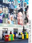 Купить «Asian community murals on building walls, with people walking past, San Francisco, California, USA 2011», фото № 25238587, снято 22 мая 2018 г. (c) Nature Picture Library / Фотобанк Лори