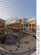 Купить «Inside Cabot Circus, constructed at a cost of £500 million, is an architectural masterpiece. The shopping centre's glass roof equal in size to one and a half football pitches, Bristol, Avon, UK 2009», фото № 25242063, снято 16 августа 2018 г. (c) Nature Picture Library / Фотобанк Лори