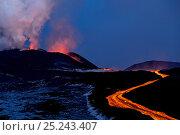 Купить «Lava flow from Plosky Tolbachik Volcano eruption, Kamchatka Peninsula, Russia, 5 December 2012», фото № 25243407, снято 5 апреля 2020 г. (c) Nature Picture Library / Фотобанк Лори