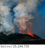 Купить «Ash plume and lava erupting from Plosky Tolbachik Volcano, Kamchatka Peninsula, Russia, 5 December 2012», фото № 25244735, снято 17 июня 2019 г. (c) Nature Picture Library / Фотобанк Лори