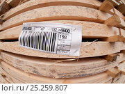 Купить «Batch of sawn and processed timber with descriptive label, stacked in BSW sawmill, Boat of Garten, Inverness-shire, Scotland, UK, February 2012.», фото № 25259807, снято 11 декабря 2017 г. (c) Nature Picture Library / Фотобанк Лори