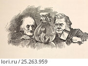 Illustrated portraits of Richard Owen (20, July 1804- 18 December 1892) and Thomas Henry Huxley (4 May 1825 - 29 June 1895). Linley Sambourne's illustration... Стоковое фото, фотограф Paul D Stewart / Nature Picture Library / Фотобанк Лори