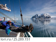 Купить «Dr Robert (Bob) Pitman, from US National Marine Fisheries Service, scientific advisor, relaxing on board the 'Golden Fleece' prior to searching for whales...», фото № 25289151, снято 24 февраля 2018 г. (c) Nature Picture Library / Фотобанк Лори