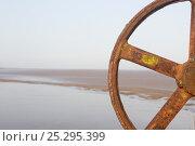 Купить «Rusting remains of mussel processing machine, Campfield Marsh RSPB reserve, Solway Firth, Cumbria, UK, April 2011», фото № 25295399, снято 22 июля 2018 г. (c) Nature Picture Library / Фотобанк Лори
