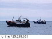 Купить «Fishing vessels on the North Sea, June 2011.», фото № 25298651, снято 7 декабря 2019 г. (c) Nature Picture Library / Фотобанк Лори