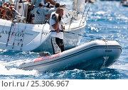 Купить «Photographer in inflatable boat during the Heineken Regatta, St Martin, Caribbean, March 2011.», фото № 25306967, снято 7 июля 2020 г. (c) Nature Picture Library / Фотобанк Лори
