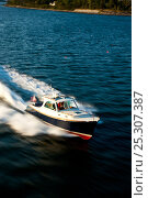 Купить «Hinckley T38 speedboat travelling at speed. Rhode Island, USA, August 2008. All non-editorial uses must be cleared individually.», фото № 25307387, снято 15 августа 2018 г. (c) Nature Picture Library / Фотобанк Лори