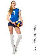 Купить «Young girl volleyball player», фото № 25310295, снято 25 декабря 2016 г. (c) Ряпосов Борис / Фотобанк Лори
