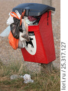 Купить «Dog mess bin overflowing, Cley Beach, Norfolk, UK, September 2009», фото № 25317127, снято 26 мая 2019 г. (c) Nature Picture Library / Фотобанк Лори