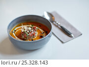 Купить «close up of vegetable soup in bowl», фото № 25328143, снято 16 января 2017 г. (c) Syda Productions / Фотобанк Лори
