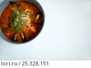 Купить «seafood soup with fish and blue mussels in bowl», фото № 25328151, снято 16 января 2017 г. (c) Syda Productions / Фотобанк Лори