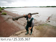 Купить «Putcher fisherman (John Powell) carrying drift wood deposited by Severn bore. The traditional way of fishing here is potentially threatened by the proposed...», фото № 25335367, снято 15 августа 2018 г. (c) Nature Picture Library / Фотобанк Лори