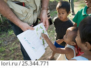 Tim Appleton showing children bird illustrations in a field guide, Narra, Palawan, Philippines, March 2009. Стоковое фото, фотограф DAVID TIPLING / Nature Picture Library / Фотобанк Лори