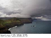 Купить «Coastline with wind turbines on cliffs just below dark clouds, Ponta de Sao Lourenco, Madeira, March 2009», фото № 25358375, снято 16 июля 2018 г. (c) Nature Picture Library / Фотобанк Лори