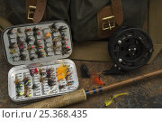 Купить «Fly fishing tackle and rod, Port Howard, Northern end of West Falkland, Falkland Islands», фото № 25368435, снято 18 января 2018 г. (c) Nature Picture Library / Фотобанк Лори