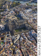 Купить «Aerial view of the historic centre of the city of Seville showing Cathedral and orange grove courtyard, Andalucia, Spain, March 2008», фото № 25375327, снято 14 июля 2018 г. (c) Nature Picture Library / Фотобанк Лори