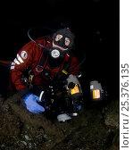 Купить «Photographer, Magnus Lundgren, with equipment, Saltstraumen, Bodö, Norway, October 2008, photographed by Klas Malmberg. Model released», фото № 25376135, снято 20 ноября 2019 г. (c) Nature Picture Library / Фотобанк Лори