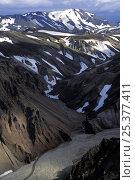 Купить «Multicoloured earth of the volcanic landscape of Landmannalaugar, volcanic massif, Iceland 2005», фото № 25377411, снято 15 ноября 2019 г. (c) Nature Picture Library / Фотобанк Лори