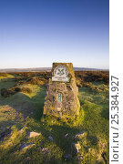 Купить «Triangulation Pillar (Trig Point) on Winsford Hill in Exmoor National Park, Somerset, England.», фото № 25384927, снято 15 августа 2018 г. (c) Nature Picture Library / Фотобанк Лори