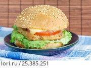 Купить «Гамбургер с котлетой, сыром и овощами», фото № 25385251, снято 11 февраля 2017 г. (c) Елена Коромыслова / Фотобанк Лори