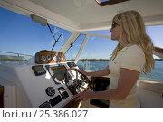 Купить «Woman helming Surf Hunter 33 Jet boat off Marco Island, Florida. Model and property released, 2007.», фото № 25386027, снято 22 июля 2018 г. (c) Nature Picture Library / Фотобанк Лори