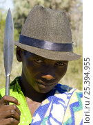 Купить «Man with spear from the Antandroy tribe, near Ampanihy, South Madagascar», фото № 25394955, снято 21 июля 2018 г. (c) Nature Picture Library / Фотобанк Лори