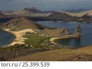 Купить «Santiago Island from Bartolome Island, Galapagos Islands. Nov 2007.», фото № 25399539, снято 5 апреля 2020 г. (c) Nature Picture Library / Фотобанк Лори