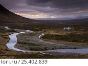Купить «A small bothy (basic shelter) adds scale to the wide open expanse of Rannoch Moor, Highlands, Scotland», фото № 25402839, снято 18 марта 2018 г. (c) Nature Picture Library / Фотобанк Лори