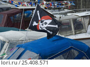Купить «Skull and crossbones flag flying on cabin cruiser at the Bristol Harbour Festival, August 2008», фото № 25408571, снято 19 декабря 2018 г. (c) Nature Picture Library / Фотобанк Лори