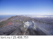 Купить «Aerial view of Karymsky volcano, one of the most active volcanoes on Kamchatka, it is constantly belching smoke and sometimes lava and ash, Kamchatka, Far East Russia», фото № 25408751, снято 5 апреля 2020 г. (c) Nature Picture Library / Фотобанк Лори