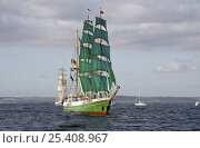 """Купить «Three masted barque """"Alexander von Humboldt"""" at the Funchal 500 Tall Ships Regatta race day, Saturday 13th September 2008. Falmouth, Cornwall, UK», фото № 25408967, снято 6 августа 2020 г. (c) Nature Picture Library / Фотобанк Лори"""