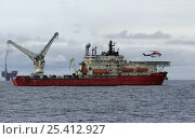 Купить «A crew helicopter lands on the helideck of the dive support vessel C.S.O Wellservicer, North Sea, September 2007», фото № 25412927, снято 19 июля 2018 г. (c) Nature Picture Library / Фотобанк Лори