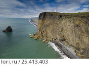 Купить «Lighthouse on high steep cliffs near Vik, South Iceland», фото № 25413403, снято 21 августа 2018 г. (c) Nature Picture Library / Фотобанк Лори