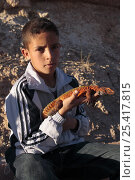 Купить «Boy holding a Moroccan spiny tailed lizard (Uromastyx acanthinurus nigriventris) in the High Atlas Mountains, Morocco   December 2007», фото № 25417815, снято 20 августа 2018 г. (c) Nature Picture Library / Фотобанк Лори