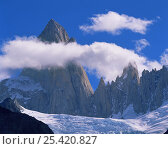 Clouds forming aroung the jagged summit of Mount Fitz Roy (Chalten) over Piedras Blancas glacier, in Glaciers National Park, Argentina. Стоковое фото, фотограф Jack Dykinga / Nature Picture Library / Фотобанк Лори