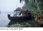 Купить «Houseboat on the Backwaters, Kerala, India», фото № 25427647, снято 18 сентября 2018 г. (c) Nature Picture Library / Фотобанк Лори