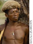 Купить «Antandroy man wearing hat made from goat skin. MADAGASCAR 2005», фото № 25443975, снято 17 ноября 2019 г. (c) Nature Picture Library / Фотобанк Лори