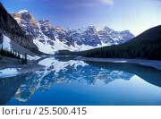 Купить «Reflections of the Rocky Mountains in Morraine Lake, Banff NP Alberta Canada, North America», фото № 25500415, снято 31 мая 2020 г. (c) Nature Picture Library / Фотобанк Лори