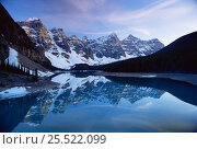 Купить «Peaceful reflections in Morraine lake, Banff NP, Alberta, Canada», фото № 25522099, снято 31 мая 2020 г. (c) Nature Picture Library / Фотобанк Лори