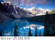 Купить «Rocky Mountains reflections in Morraine lake, Banff NP, Alberta, Canada», фото № 25525559, снято 31 мая 2020 г. (c) Nature Picture Library / Фотобанк Лори
