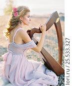 Купить «Beautiful woman with harp», фото № 25533327, снято 14 ноября 2018 г. (c) Алена Роот / Фотобанк Лори