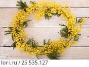 Frame from mimosa flower on wooden table. Стоковое фото, фотограф Юлия Младич / Фотобанк Лори