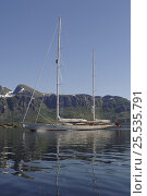 """Купить «180ft Superyacht """"Adele"""" in the Lofoten Islands, Norway. ^^^ Adele is a 180-foot Andre Hoek designed yacht, built by the world renowned Vitters Shipyard in Holland. She is owned by Jan-Eric Osterlund. Non editorial uses must be cleared individually.», фото № 25535791, снято 19 января 2020 г. (c) Nature Picture Library / Фотобанк Лори"""