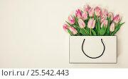 Купить «Tulips in shopping bag», фото № 25542443, снято 10 февраля 2017 г. (c) Наталия Кленова / Фотобанк Лори