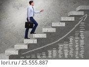 Купить «Young businessman climbing career ladder», фото № 25555887, снято 14 февраля 2019 г. (c) Elnur / Фотобанк Лори