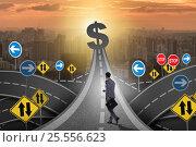 Купить «Businessman walking towards his profit target», фото № 25556623, снято 21 ноября 2019 г. (c) Elnur / Фотобанк Лори