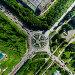 Aerial city view with crossroads and roads, houses buildings. Copter shot. Panoramic image., фото № 25556787, снято 19 июля 2013 г. (c) Александр Маркин / Фотобанк Лори