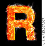 Купить «Burning letters as alphabet type R», фото № 25557067, снято 19 января 2019 г. (c) Elnur / Фотобанк Лори