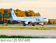 Купить «Airbus A320 (бортовой VP-BFZ) авиакомпании Ural Airlines на взлете в Домодедове», эксклюзивное фото № 25557695, снято 2 сентября 2011 г. (c) Alexei Tavix / Фотобанк Лори